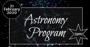 black background with stars and text; Astronomy Program at Faver-Dykes State Park