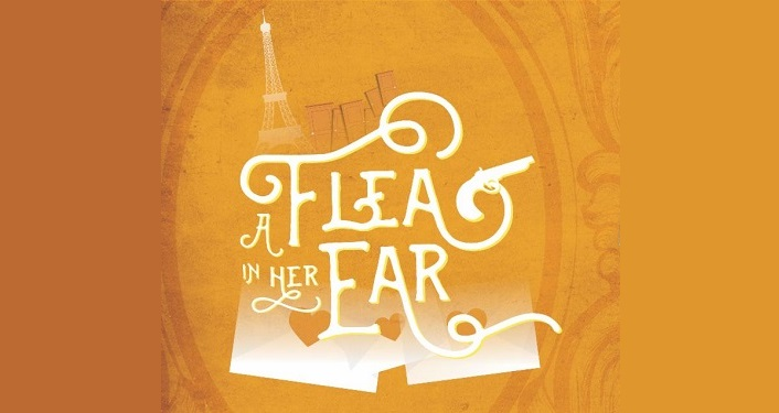 "text in white on burnt orange background ""A Flea In Her Ear""; faint image of Eiffel Tower in white behind the text"