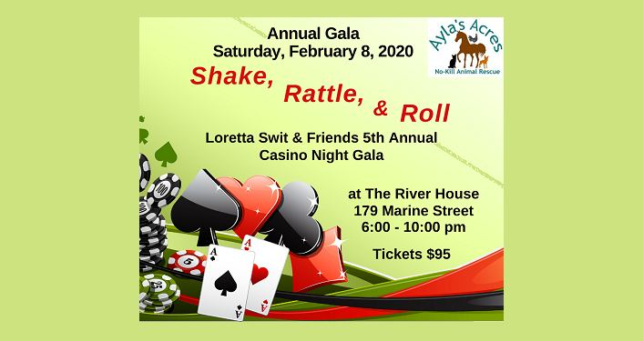 text, Annual Casino Night Gala....Shake, Rattle, & Roll. image of dice, Ace of Spades, Ace of Hearts, and chips