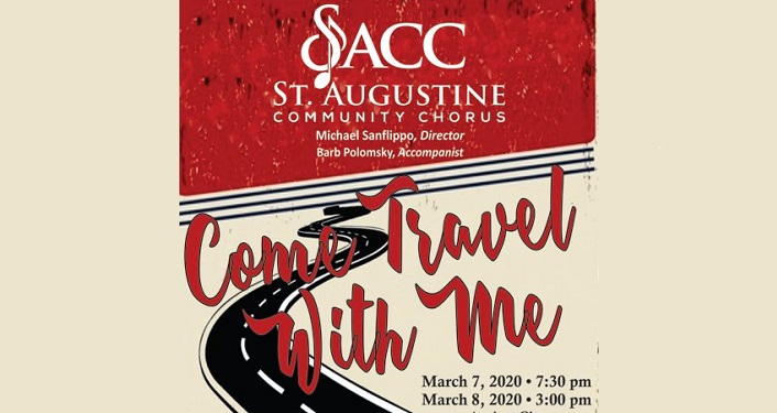 Te4xt in red Come Travel With Me; in white SACC St Augustine Community Chorus