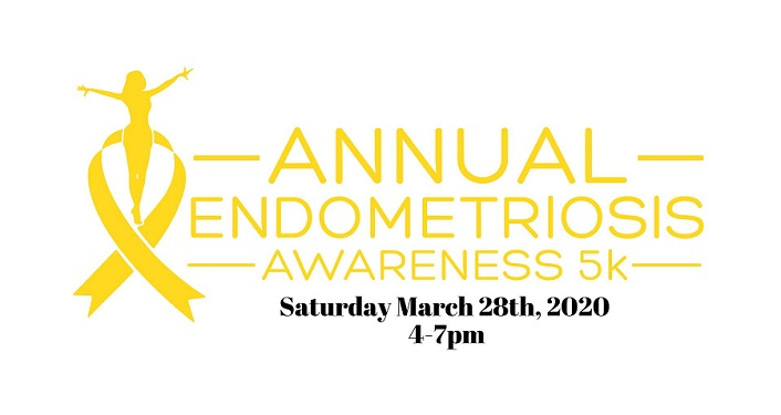 Yellow ribbon on left; Text in yellow on white background; Endometriosis Awareness 5K