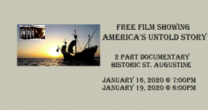 image of sailing ship on water on left; text on right, Free Film Showing - America's Untold Story