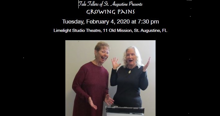 image of two women, one standing on a dr. office scale; text Tale Tellers of St. Augustine...Growing Pains
