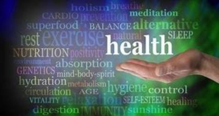 words on greens/blues background: holistic, health, balance, mind-body-spirit
