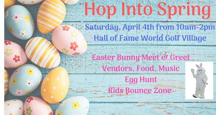 text: Hop Into Spring Fest, Saturday, April 4, 2020, Colored Easter Eggs on the left-hand side