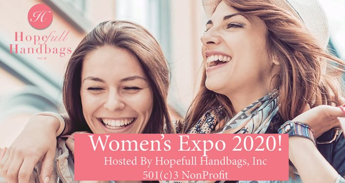text Hopefull Handbags Women's Expo 2020. two young women laughing and smiling
