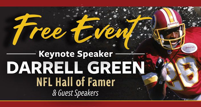 Text: Free Event, Keynote Speaker Darrell Green. on right image of Green in his Washington Redskins uniform