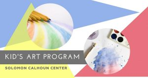multi-colored, pastel background with text; Kids Free Art Program