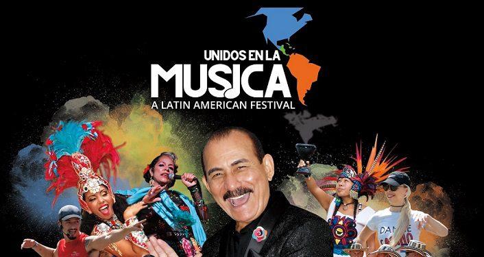 text in white Unidos en la Música! Latin American Festival