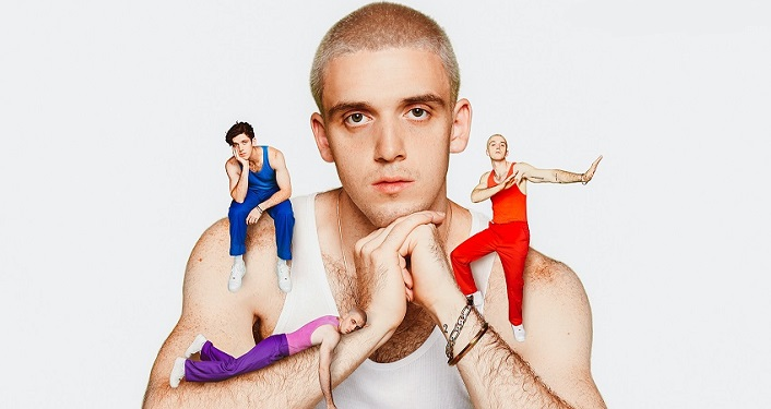 image of young man wearing white tank top, leaning chin on his hands. 2 shrunken images - 1 in blue sitting on right shoulder, 1 in red standing on his left arm. R&B-infused, electro-pop artist Lauv
