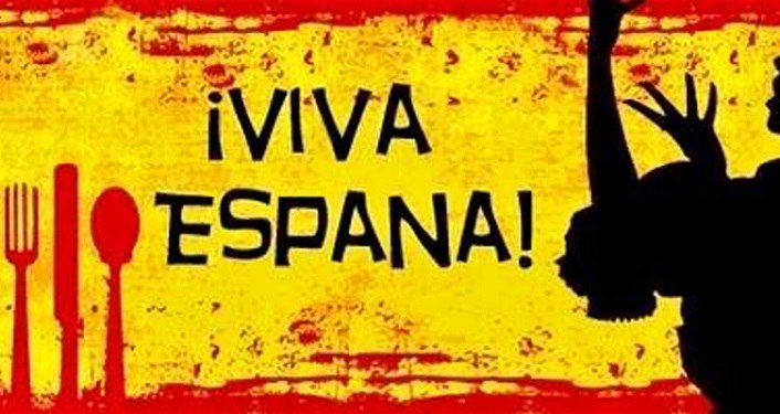 yellow background; fork, knive, & spoon in red on left, middle in black viva Espana!, on right silhoutee of spanish dancer; Noche de Festival