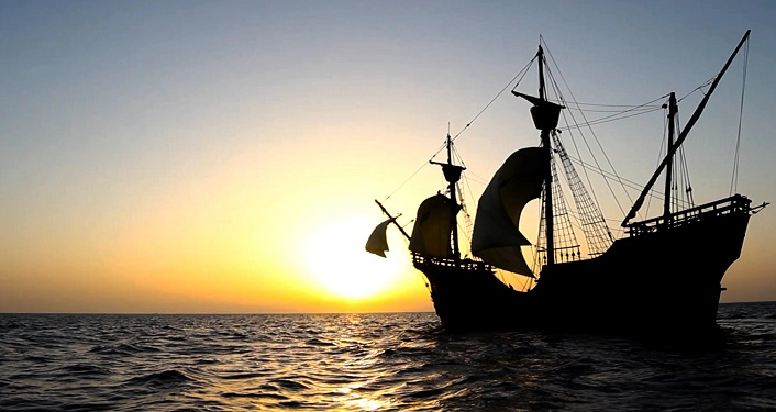 "image of spanish sailing ship silhoutted in the sunset; PBS documentary ""The Secrets of Spanish Florida"""