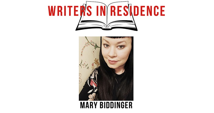 image of woman with dark hair, slightly oriental features; text Writers in Residence Mary Biddinger