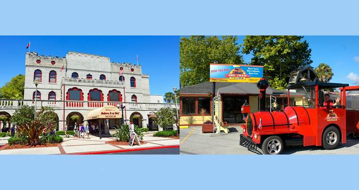 image of front of Ripley's Believe It or Not Museum St. Augustine & a Red Trains
