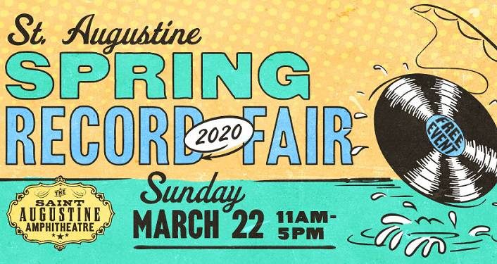 text: Spring 2020 St. Augustine Record Fair Ssunday March 22, 11am-5pm. vinyl record to the right