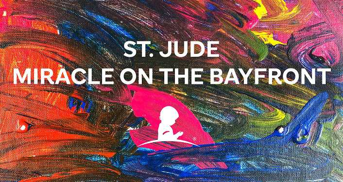 multi-colored background with image in white of child from the right side; text: St Jude Miracle on the Bayfront