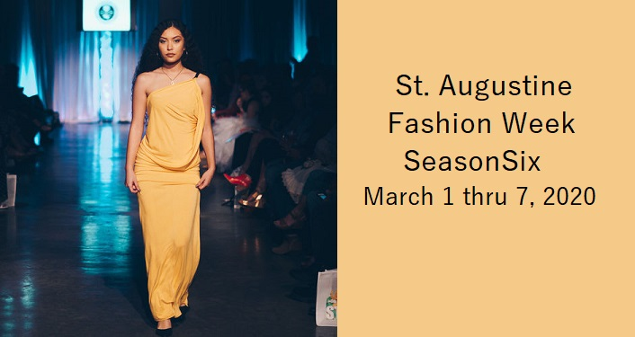 text in black; St. Augustine Fashion Week Season Six. young, Asian looking woman walking runway, wearing peach colored gown