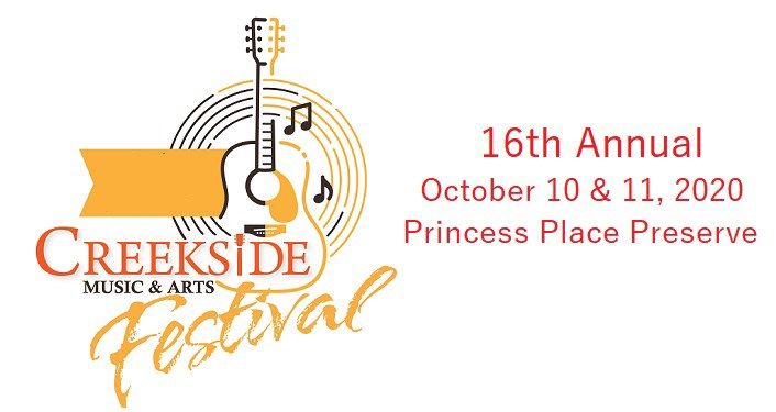 image of guitar with text; 16th Annual Creekside Music & Arts Festival, Ocrtober 10 & 11, 2020, Princess Place Preserve