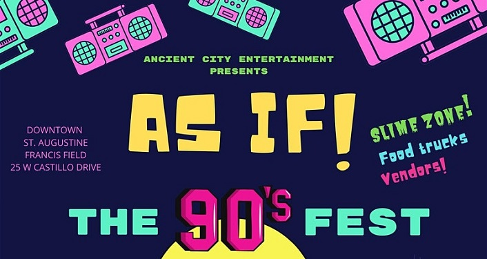 text:As If! The 90's Fest, surrounded by images of casette players - one in pink, one in turquiose
