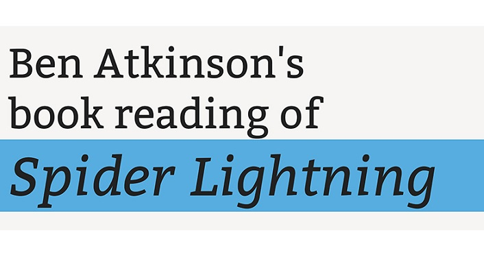 text in black on white background, Ben Atkinson Poetry Reading Spider Lightning