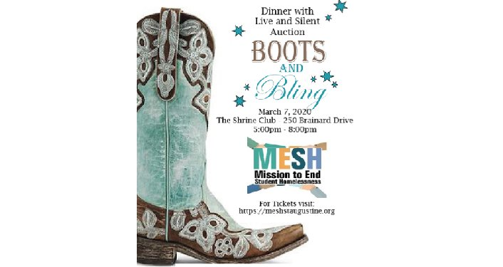Decorated cowboy boot with text; Boots & Bling Dinner & Auction
