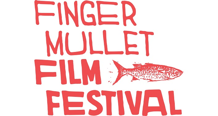 text in red; Finger Mullet Film Festival with image of mullet in red, white background
