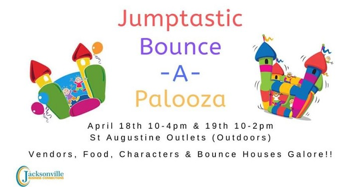 text: Jumptastic Bounce -A- Palooza with cartoonish bounce houses on either side of text