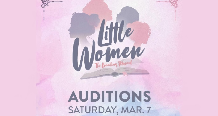 shades of pink background, text Little Women The Musical Auditions