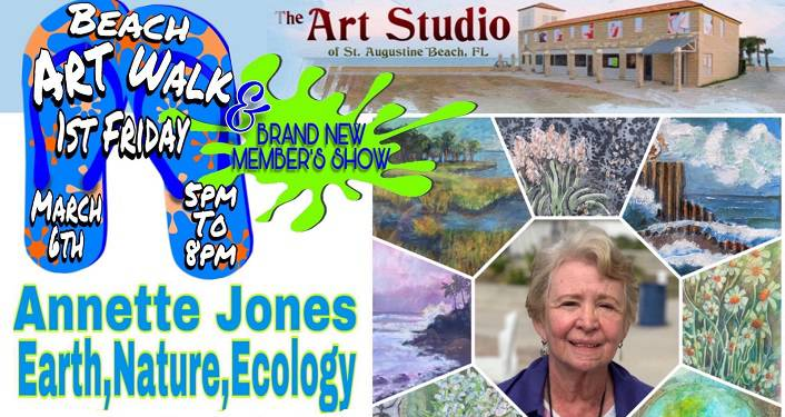 text; March Artist, Annette Dexter Jones; collage of her artwork