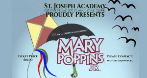 image of kite and umbrella with parrot head; text Mary Poppins Jr.