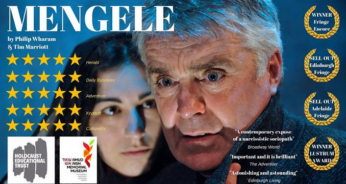 image of gray-haired man with brown-haired woman hugging him; Tim Marriott's production of Mengele