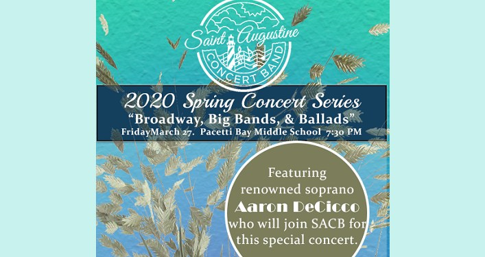 text in white on mixed turquiose and light blue background; Saint Augustine Concert Band Spring Concert