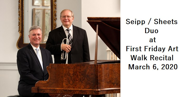 2 men dressed in suits, 1 sitting at piano, the other standing holding a trumpet; Seipp / Sheets Duo