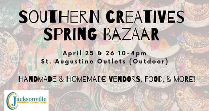 text in black on multi-colored background; Southern Creatives Spring Bazaar