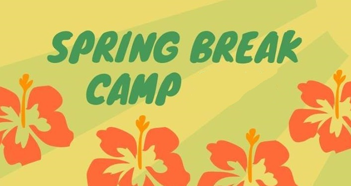 text in green; Spring Break Camp