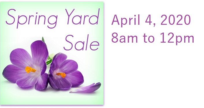 purple flowers with text, Spring Yard Sale