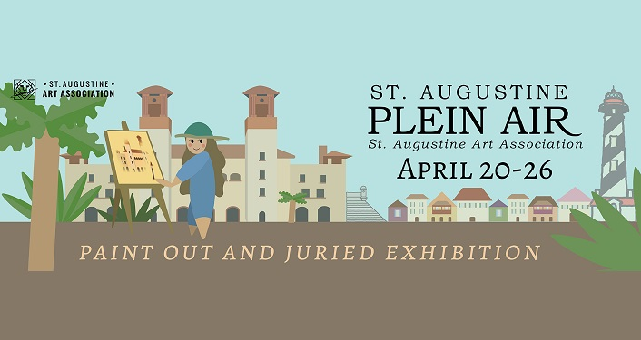 caricature image of flagler Collage in background, person standing at easel painting in foreground; text - St. Augustine Plein Air Paint Out April 20-26, 2020!