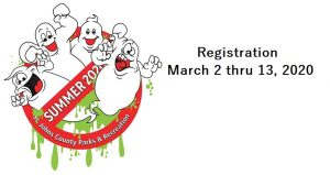 cartoon image of ghosts with text St. Johns County Parks & Rec Summer Camp Registration