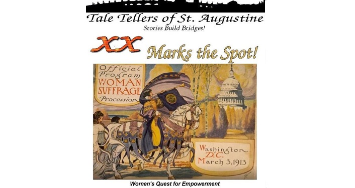 text in black; Tale Tellers of St. Augustine -- XX Marks the Spot