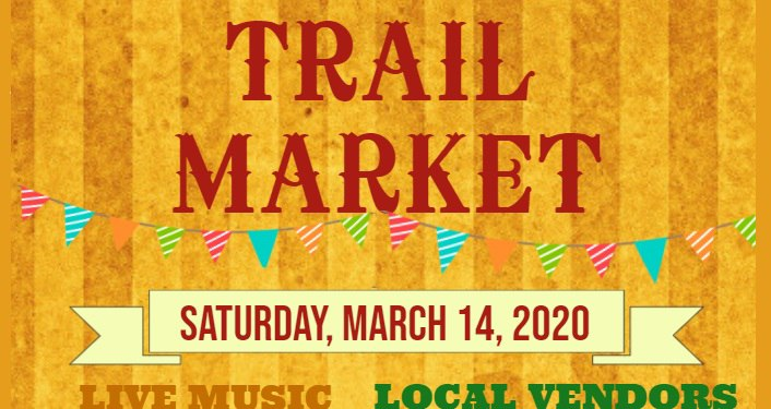 text in red on orange striped background; Trail Market