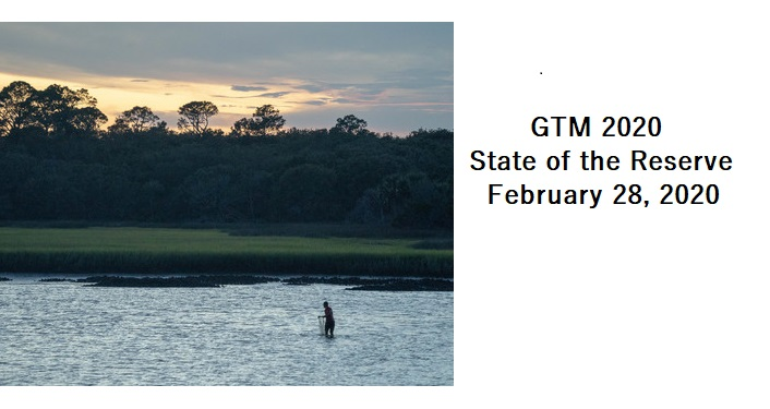 image of man in river at dusk casting net; text - GTM 2020 State of the Reserve