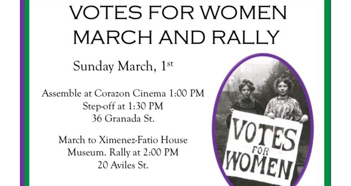 "text; Votes for Women's March & Rally with small cameo image of women dressed in period dress holding sign "" Votes for Women"""