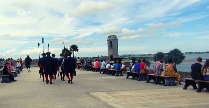 Visitors attending a weapon demonstration at the Castillo de San Marcos in St. Augustine.