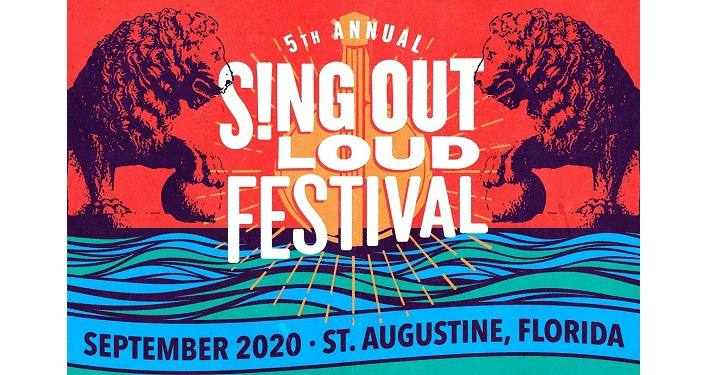 text in white on red background; 5th Annual Sing Out Loud Festival