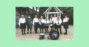 image of older men dressed in kilts with drums, fifes, St. Patrick's Day Vespers with First Coast Highlanders Bagpipe and Drum Band