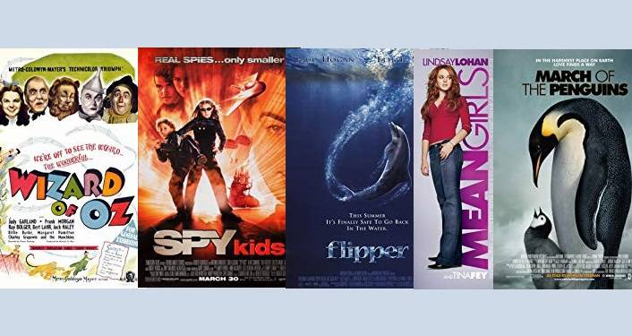 image of posters from Wizard of Oz, Spy Kids 2, Flipper, Mean Girls, & March of Penquins; Free Films at Corazon