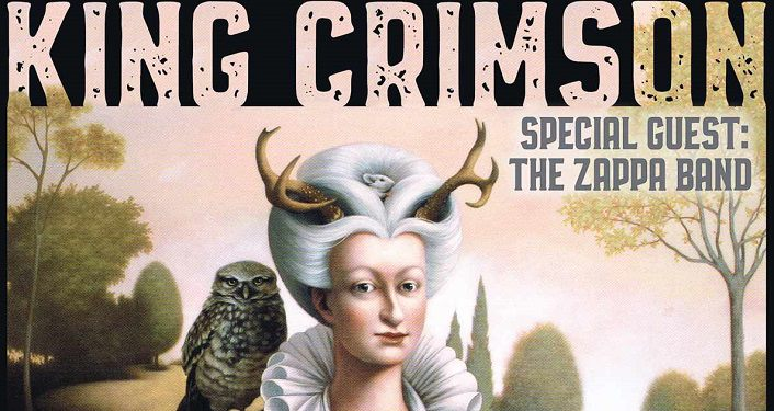 text: King Crimson with special guest The Zappa Band; caricature drawing of woman from colonial times with white hair in bun, antlers stickikng out of it, an owl sitting on right shoulder
