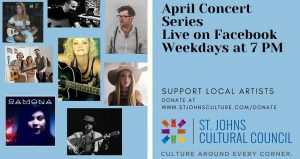 collage images of local musicians, men and women of various ages; text - St. Johns Cultural Council presents an Online Concert Series.
