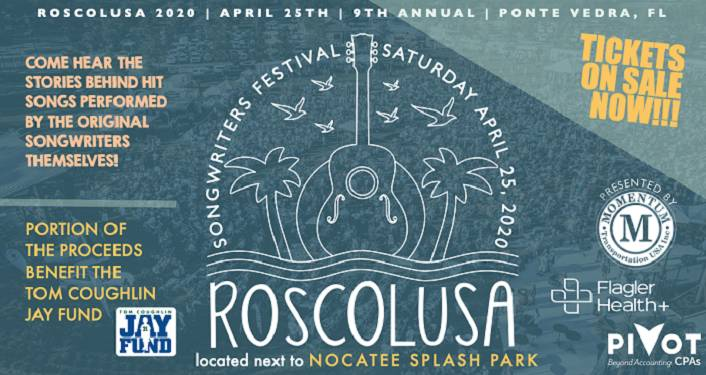 text in white on dark turquiose background: Roscolusa Songwriters Festival with hand drawn image of guitar above text