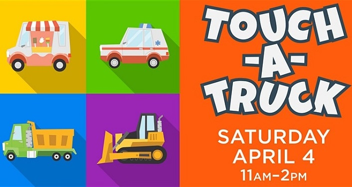 multi-colored squares, one with bulldozer, one with ambulance, one with dumptruck; text Touch-A-Truck